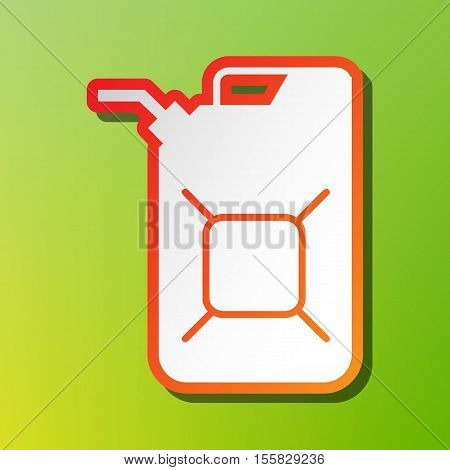 Jerrycan Oil Sign. Jerry Can Oil Sign. Contrast Icon With Reddish Stroke On Green Backgound.