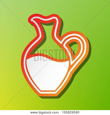 Amphora Sign. Contrast Icon With Reddish Stroke On Green Backgound.