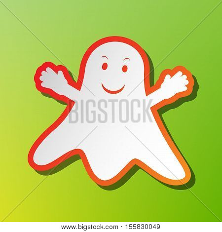 Ghost Isolated Sign. Contrast Icon With Reddish Stroke On Green Backgound.