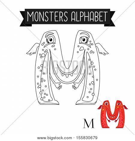 Coloring page monsters alphabet for kids. Letter M vector illustration