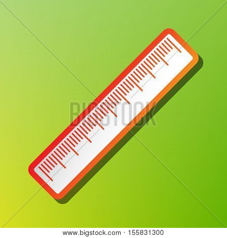 Centimeter Ruler Sign. Contrast Icon With Reddish Stroke On Green Backgound.