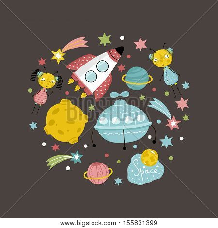 Space objects in cartoon style. Spaceship, flying saucer, cute aliens, colorful stars, planets, comets vector icons isolated on brown background set. Astronomic funny illustration for childrens book
