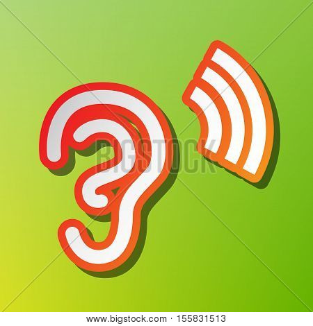 Human Ear Sign. Contrast Icon With Reddish Stroke On Green Backgound.