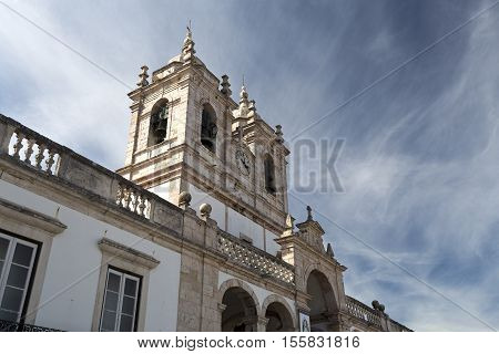 The imposing Church of Our Lady of Nazare (Igreja de Nossa Senhora da Nazare) located on the hilltop O Sitio overlooking Nazare Portugal