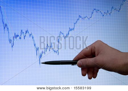 Blue Growing Forex Chart On Display And Hand With Pen