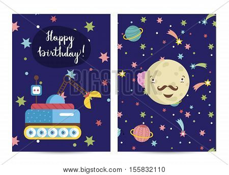 Happy birthday cartoon greeting card on space theme. Crater crawler rover, smiling mustached Mercury surrounded stars and planets vector illustration. Bright invitation on childrens costumed party
