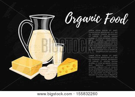 Organic food banner with dairy assortment composition on black background, vector illustration. Nutritious and healthy products. Organic farming. Natural and healthy food concept.