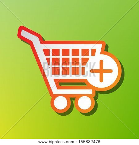 Shopping Cart With Add Mark Sign. Contrast Icon With Reddish Stroke On Green Backgound.