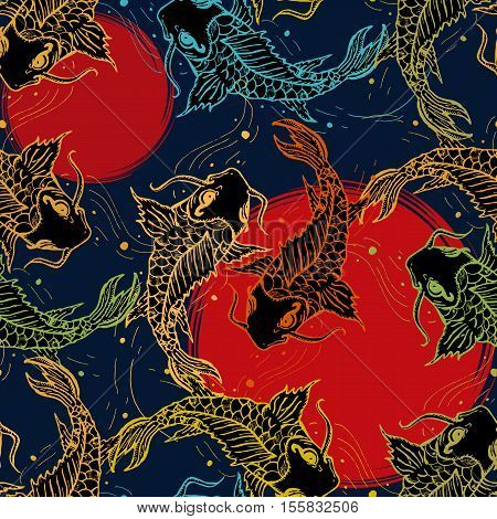 Koi carps seamless pattern hand drawn art japanese pattern japan carp background