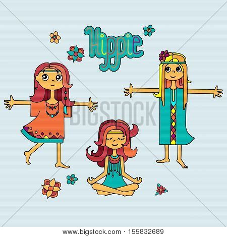 Group of happy hippie girls with lettering and flowers, bright colored handdrawn vector. Love and peace illustration.