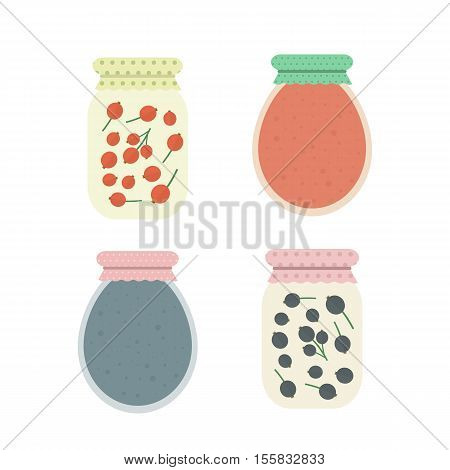 Homemade red currant and black currant jam in jar. Set of isolated elements for design