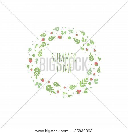 Frame with berries and strawberry. banner for design. Summer time