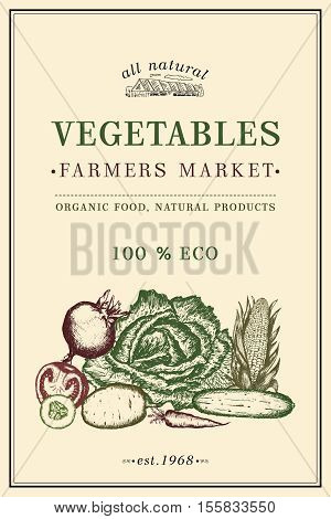 Vegetables vintage poster eco food farmer market vegetables. Healthy fresh food vegetarian vegetables food poster