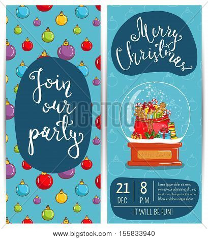 Invitation on Christmas party with date and time. Snow globe with Xmas attributes, sack of gifts. Christmas party invitation layout. Merry Christmas and Happy New Year invitation. Template of christmas party invitation. Ad for christmas party invitation.