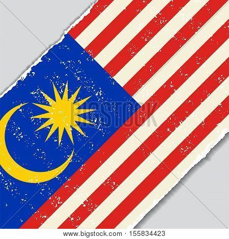 Malaysian grunge flag diagonal background. Vector illustration.