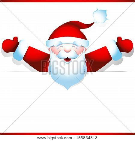 Joyous Santa Claus peeping from behind blank banner, hands wide apart. Poster for the big Christmas sales. Vector illustration 10 EPS