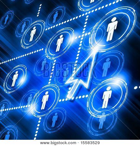 menschliche Modelle miteinander verbunden in einem sozialen Netzwerk-Muster