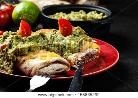 Mexican Chimichanga With Guacamole Dip