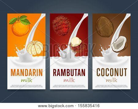 Milkshake concept with milk splash and fruit vector illustration. Milk dessert, yogurt, fruit mix, cocktail drink, fruit smoothie with mandarin, coconut, rambutan packaging design. Dairy product.