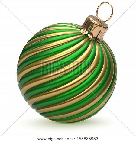 Christmas ball New Year's Eve decoration green gold shiny twisted stripes bauble wintertime hanging adornment souvenir. Traditional ornament happy winter holidays Merry Xmas symbol closeup. 3d render