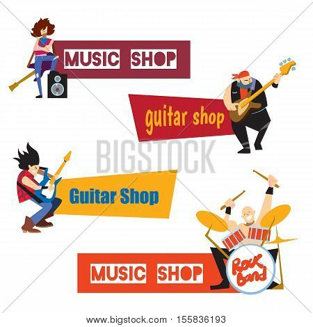 Music shop, guitar shop, concept with musicians isolated vector illustration. Guitarist, drummer and bassist characters with text banner. Rock star characters. Musical instruments and entertainment
