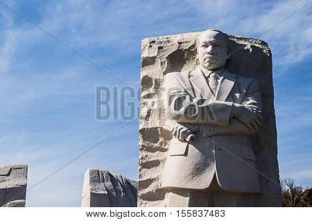 WASHINGTON, D.C. - APRIL 6, 2014: The Martin Luther King, Jr., sculpture and memorial in West Potomac Park, honoring the civil rights activist.