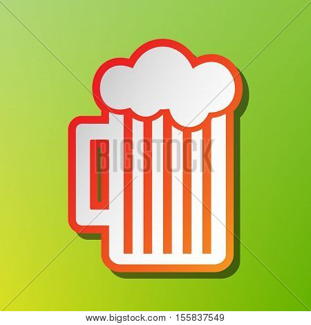 Glass Of Beer Sign. Contrast Icon With Reddish Stroke On Green Backgound.