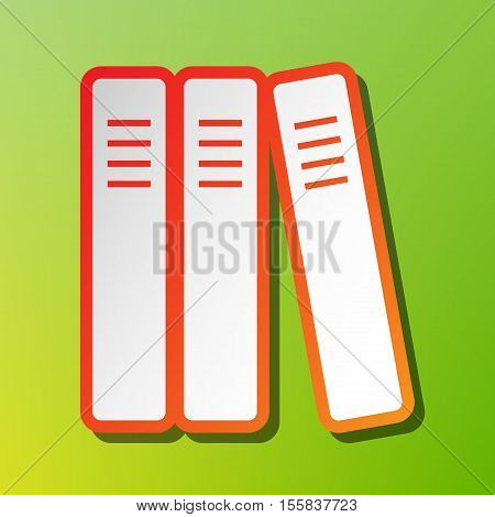 Row Of Binders, Office Folders Icon. Contrast Icon With Reddish Stroke On Green Backgound.