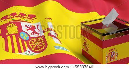 3d rendering glass ballot box on Spain flag background
