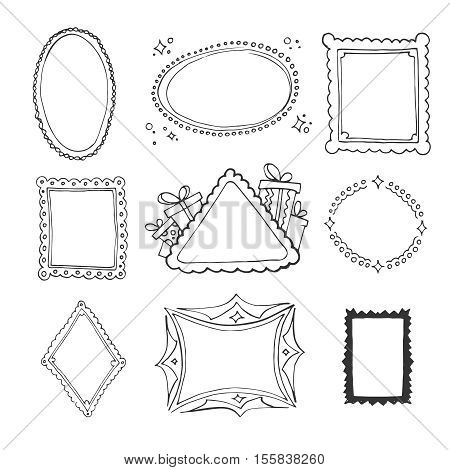 vector Collection set of decorative loop frames for christmas isolate on white background. Hand drawn pictures