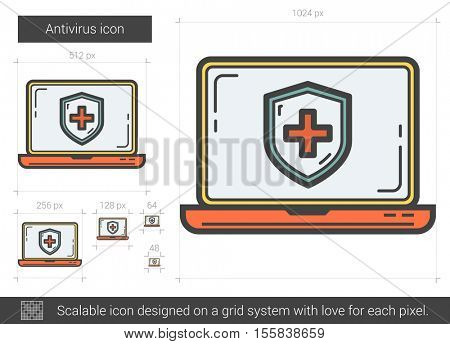 Antivirus vector line icon isolated on white background. Antivirus line icon for infographic, website or app. Scalable icon designed on a grid system.