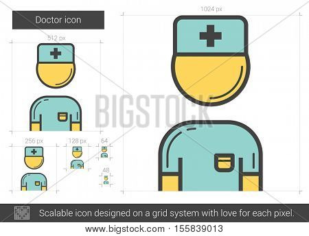 Doctor vector line icon isolated on white background. Doctor line icon for infographic, website or app. Scalable icon designed on a grid system.