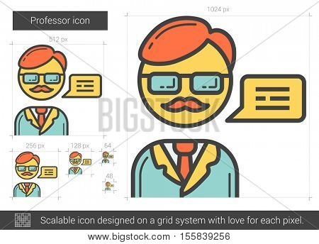 Professor vector line icon isolated on white background. Professor line icon for infographic, website or app. Scalable icon designed on a grid system.