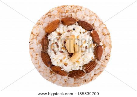 Sandwich bread with rice and nuts on a white background