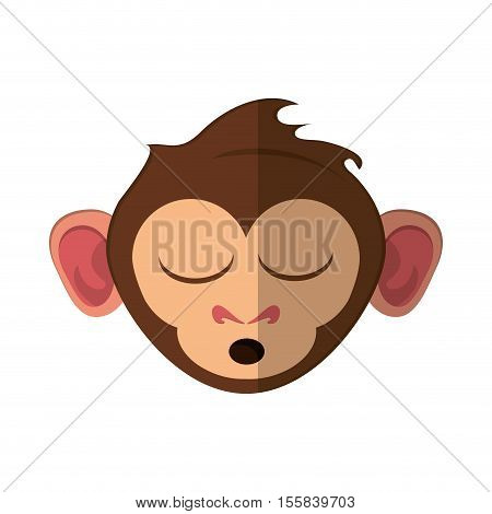 Monkey cartoon face icon. Animal wildlife ape and primate theme. Isolated design. Vector illustration