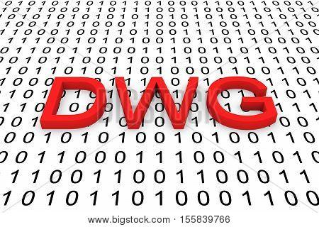 DWG binary code background format 3D illustration