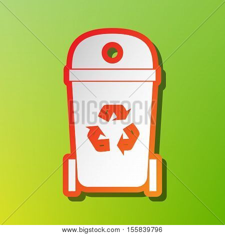 Trashcan Sign Illustration. Contrast Icon With Reddish Stroke On Green Backgound.