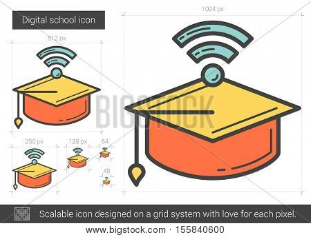 Digital school vector line icon isolated on white background. Digital school line icon for infographic, website or app. Scalable icon designed on a grid system.