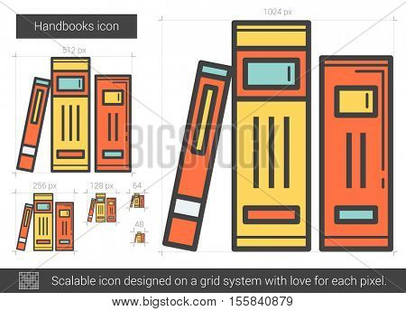 Handbooks vector line icon isolated on white background. Handbooks line icon for infographic, website or app. Scalable icon designed on a grid system.