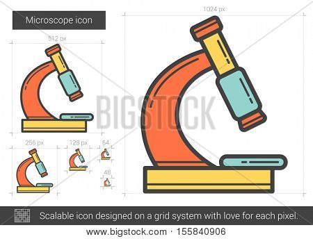 Microscope vector line icon isolated on white background. Microscope line icon for infographic, website or app. Scalable icon designed on a grid system.