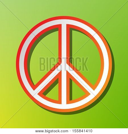 Peace Sign Illustration. Contrast Icon With Reddish Stroke On Green Backgound.