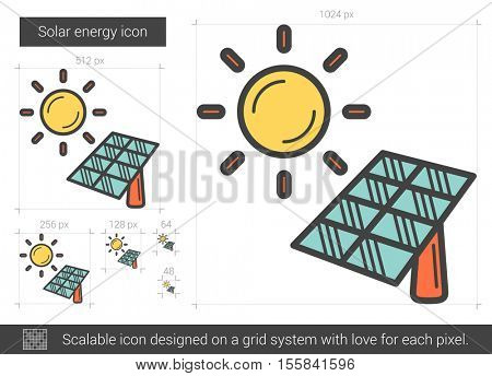 Solar energy vector line icon isolated on white background. Solar energy line icon for infographic, website or app. Scalable icon designed on a grid system.