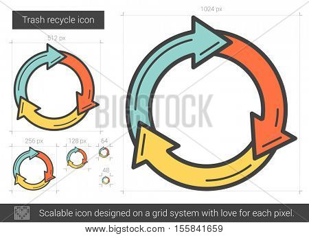 Trash recycle vector line icon isolated on white background. Trash recycle line icon for infographic, website or app. Scalable icon designed on a grid system.