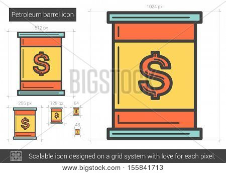 Petroleum barrel vector line icon isolated on white background. Petroleum barrel line icon for infographic, website or app. Scalable icon designed on a grid system.