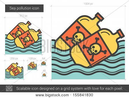 Sea pollution vector line icon isolated on white background. Sea pollution line icon for infographic, website or app. Scalable icon designed on a grid system.
