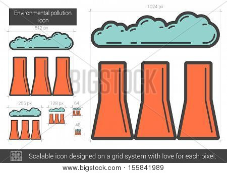 Environmental pollution vector line icon isolated on white background. Environmental pollution line icon for infographic, website or app. Scalable icon designed on a grid system.