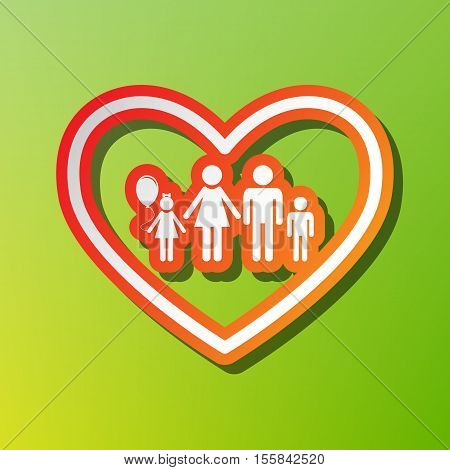 Family Sign Illustration In Heart Shape. Contrast Icon With Reddish Stroke On Green Backgound.
