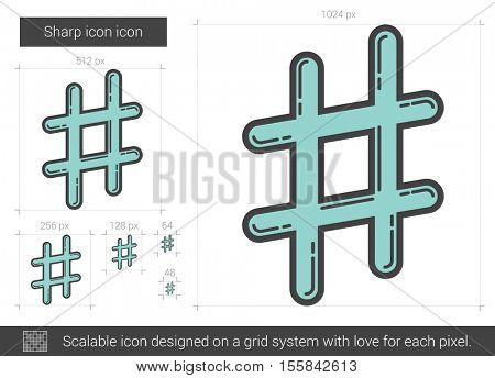 Sharp vector line icon isolated on white background. Sharp line icon for infographic, website or app. Scalable icon designed on a grid system.