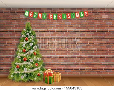 Christmas tree and garland on red brick wall background. Empty room with wooden floor. Vector realistic architectural background.