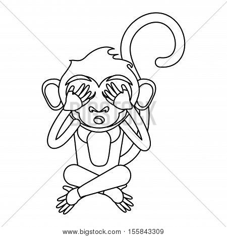 Monkey cartoon silhouette icon. Animal wildlife ape and primate theme. Isolated design. Vector illustration